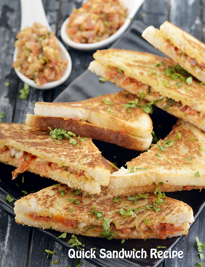 Quick Sandwich Recipe, Veg Tava Sandwich Recipe