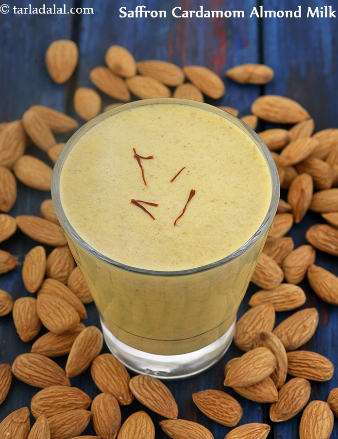 Saffron Cardamom Almond Milk, Healthy Vegan Breakfast Recipe
