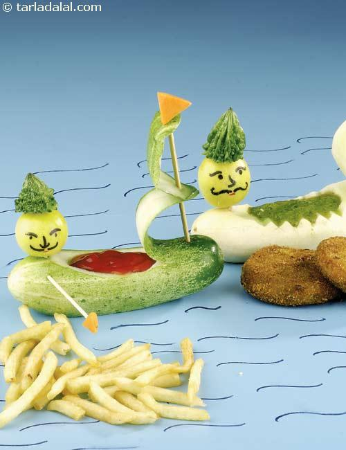 Sauce Boats, Cucumber Boats ( Vegetable Carvings)