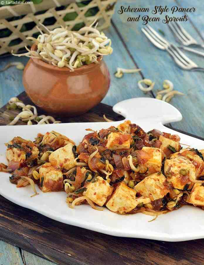 Schezuan Style Paneer and Bean Sprouts