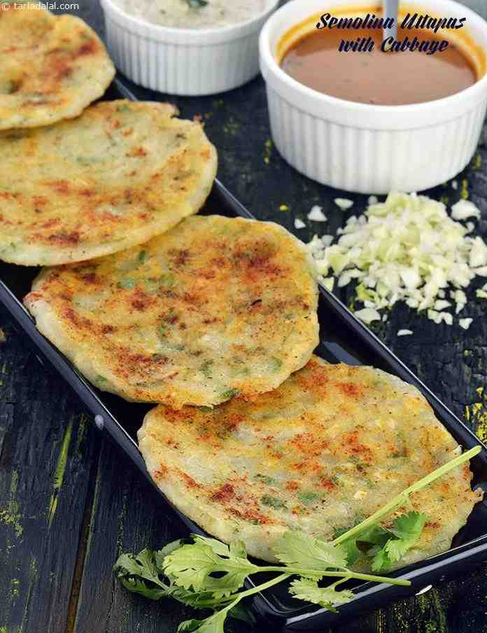 Semolina Uttapas with Cabbage, Rava Uttapa with Cabbage