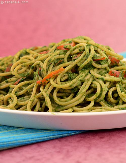 Spaghetti Verdi,a cheesy spinach sauce coated colourful spaghetti.