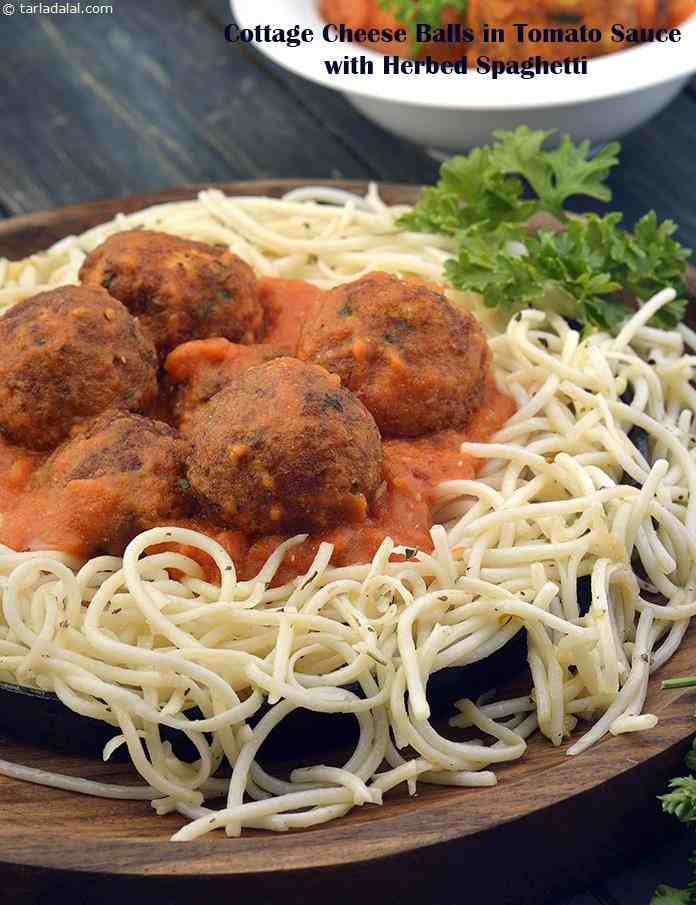Great Cottage Cheese Balls In Tomato Sauce With Herbed Spaghetti