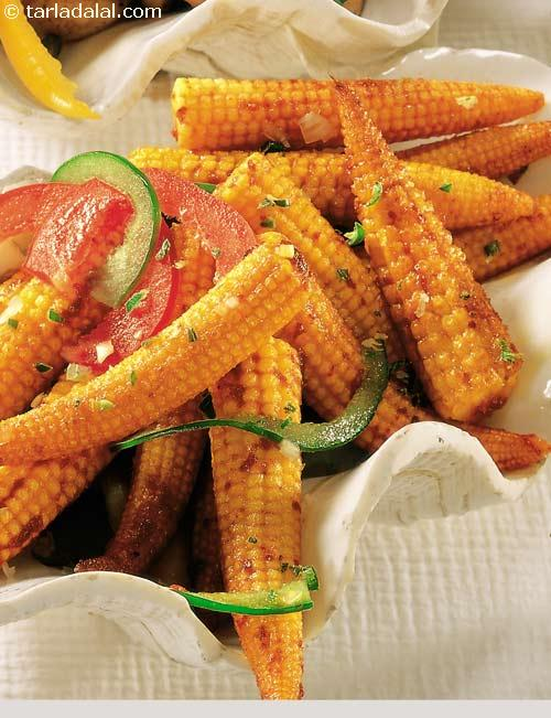 Spicy Baby Corn Satay ( Healthy Starter Recipe )