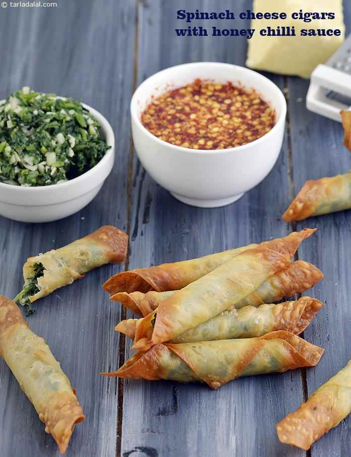 Spinach Cheese Cigars with Honey Chilli Sauce