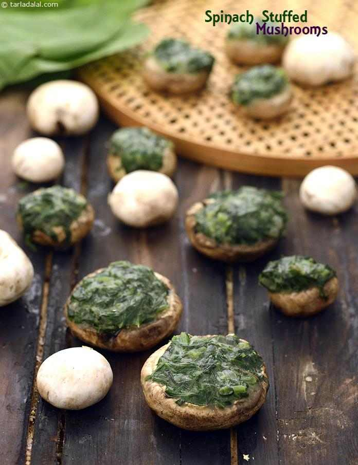 Spinach Stuffed Mushrooms ( Healthy Starter Recipe ) recipe | by Tarla ...