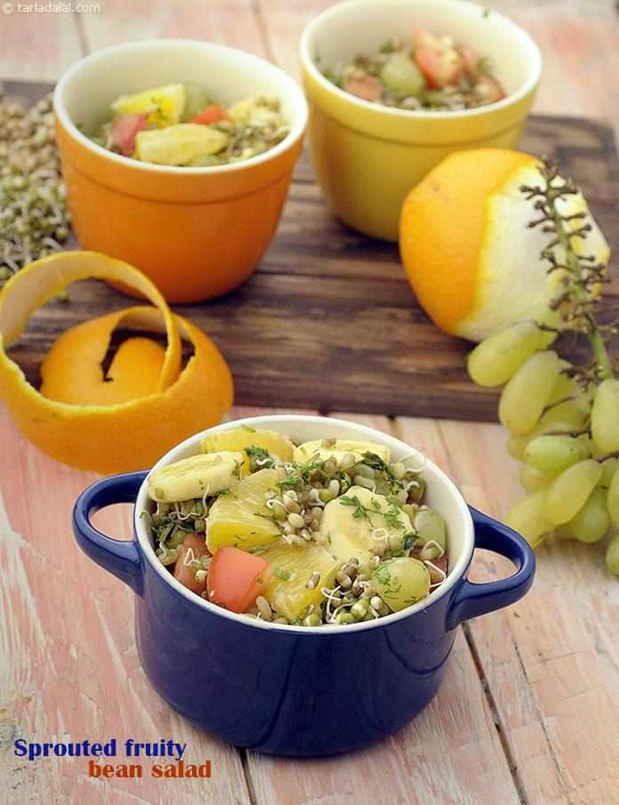 Nutritious sprouts pairs well with invigorating orange and tomatoes, balanced carefully with sweet bananas and grapes. Delicate spices weave in and out of the sprouted fruity bean salad, taking the user on a culinary adventure.