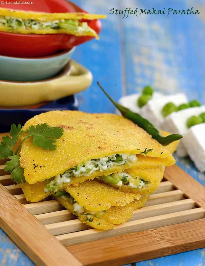 Maize flour parathas filled with a combination of paneer and green peas are a wonderful alternative to stuffed whole wheat parathas.