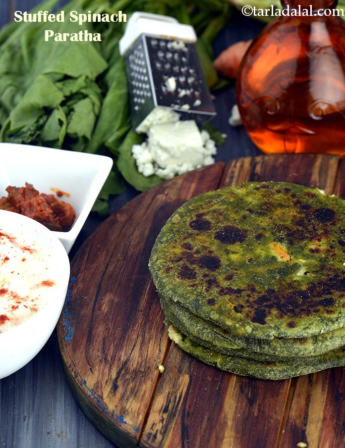 Stuffed Spinach Paratha  ( Tiffin Recipe)