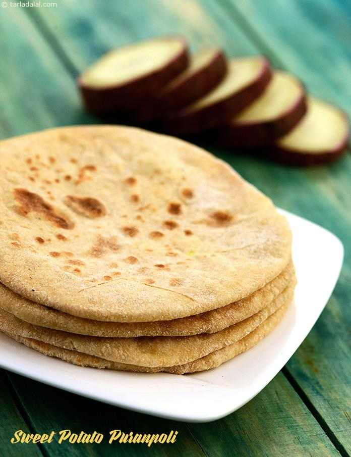 Sweet Potato Puranpoli, sweet potatoes have been used instead of dal to minimize the sugar used. Cardamom powder, nutmeg and saffron add to the pleasing aroma of these fat-free puranpolis.