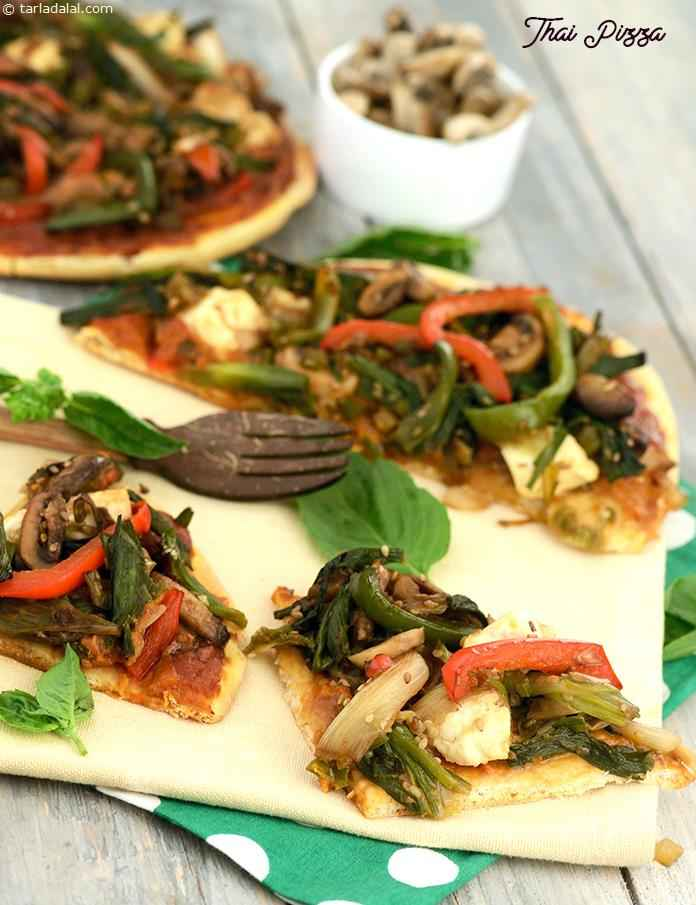 The Thai Pizza uses an innovative peanut flavoured sauce, and a crunchy topping of typically oriental veggies combined with sesame seeds, soy sauce and paneer or tofu cubes.