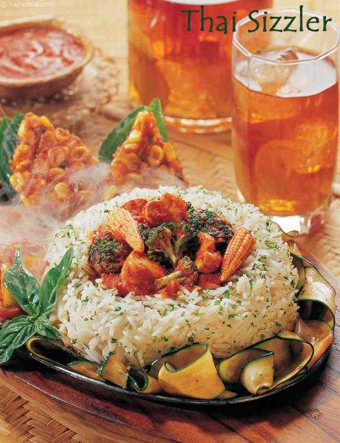 Sizzler recipes vegetable sizzler recipes tarladalal the sizzling sound of a sizzler makes ones mouth water it is a fun dish to have in a restaurant especially when you are dining with a close friend or forumfinder Image collections