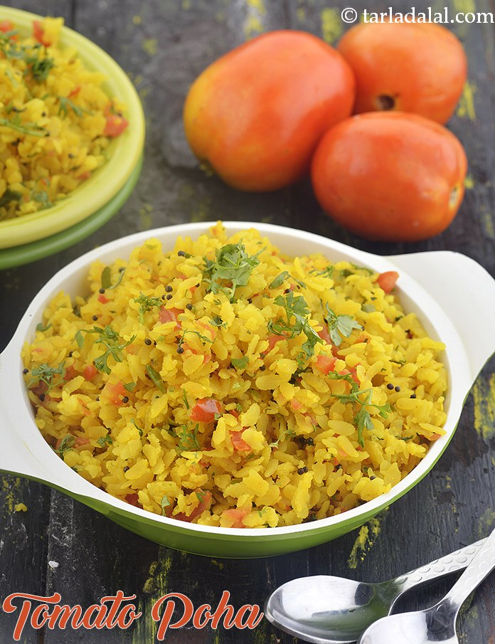 Tomato Poha, Indian Breakfast Recipe