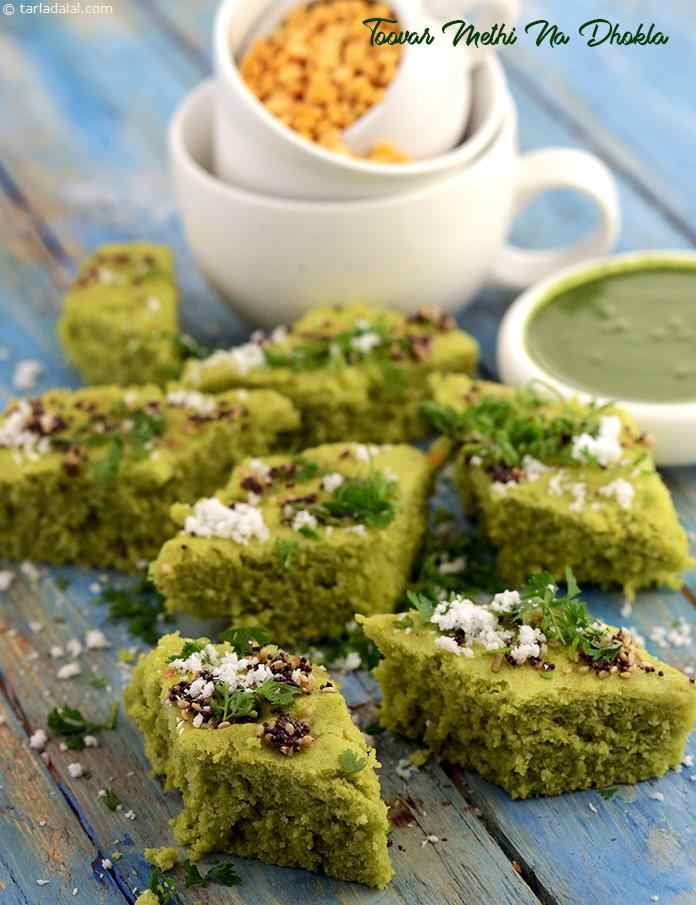 Toovar Methi Na Dhokla, the liberal use of chillies makes it appealing to spice lovers, while the goodness of toovar dal and methi makes it acceptable to the health-conscious as well.