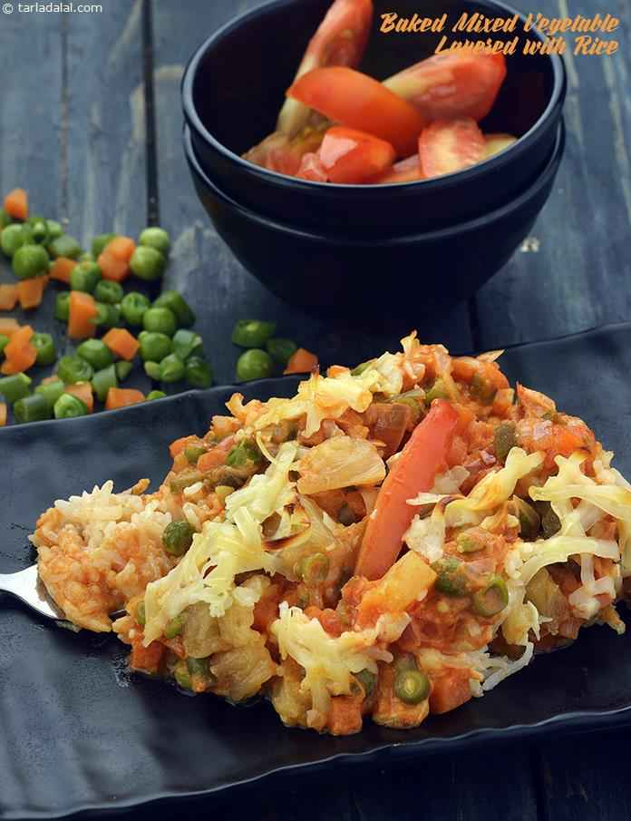 Baked mixed vegetable layered with rice recipe indian vegetarian by tarla dalal vegetable parisienne forumfinder Image collections