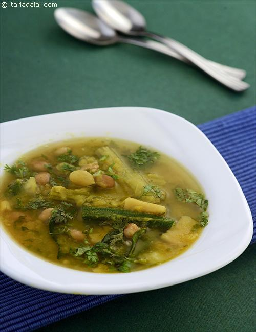 Vegetable Toovar Dal, this sweet and sour dal is typically a wholesome dish, as it is full of vegetables and dal.