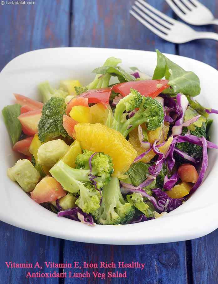 Vitamin A, Vitamin E, Iron Rich Healthy Antioxidant Lunch Veg Salad
