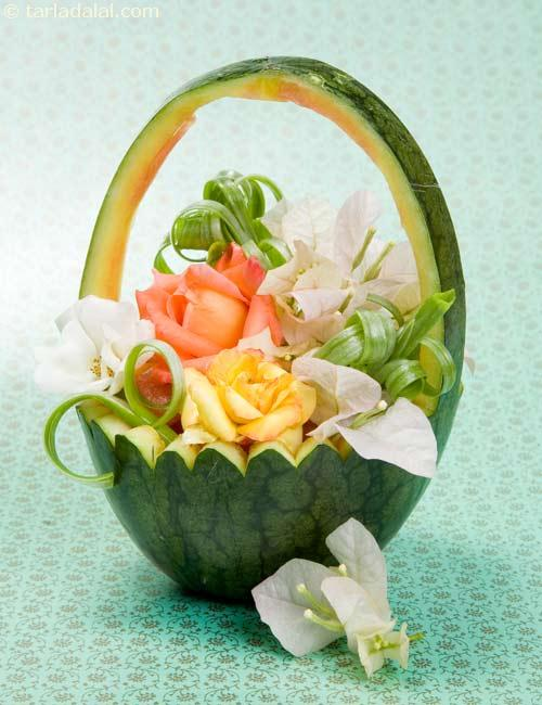 Watermelon basket fruit carvings recipe by tarla