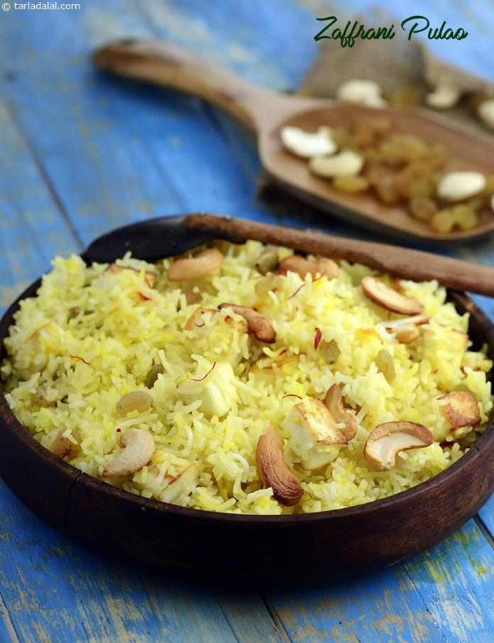Zaffrani Pulao or saffron rice is simply rice prepared with saffron flavouring. Paneer, cashewnuts and raisins make this preparation a rich delicacy that is easy to prepare and that can be cooked up in a jiffy.