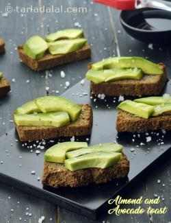 Almond and Avocado Toast, Toasted Almond Bread Topped with Avocados