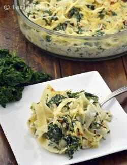 Baked Fettuccine with Spinach in Paneer Sauce