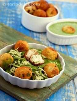 Baked Spaghetti with Paneer Balls in Spinach Sauce