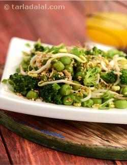 Broccoli, Bean Sprouts and Green Peas Salad, Healthy Salad Recipe