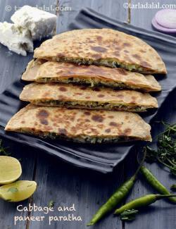 Cabbage and Paneer Parathas ( Jain Recipe)