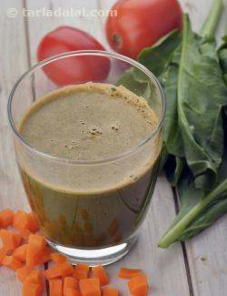 Calci Mix in A Glass, Calcium Rich Carrot Spinach and Tomato Juice