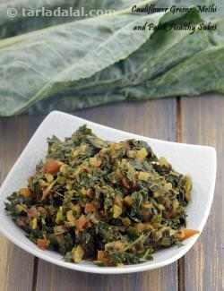 Cauliflower Greens, Methi and Palak Healthy Subzi