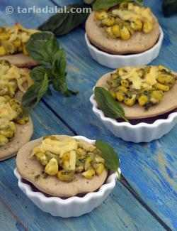 Cheesy Corn and Pesto Mini Pizza