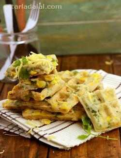 Cheesy Corn Rava Waffles