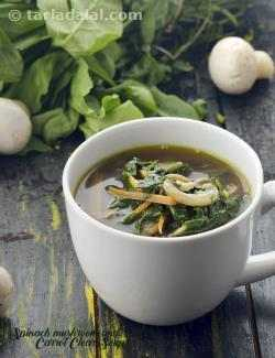 Spinach, Mushroom and Carrot Clear Soup
