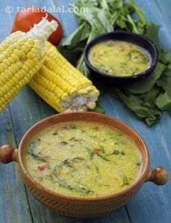 Corn, Tomato and Spinach Soup