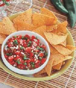 Corn Chips with Salsa and Avacado Dip