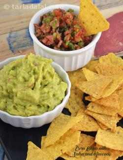 Corn Chips with Salsa and Avocado Dip, Jain Salsa