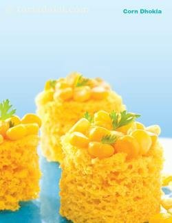 Corn Dhokla ( Tiffin Treats)