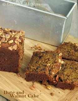 Date and Walnut Cake, Eggless Date and Walnut Cake