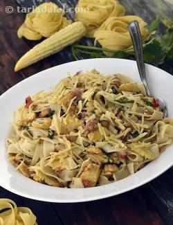 Fettuccine with Baby Corn and Walnuts
