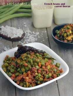 French Beans and Carrot Thoran, Kerala Dry Sabzi