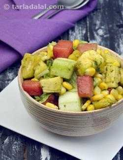 Fruity Corn Salad, Fruit, Corn and Cucumber in Mint Dressing