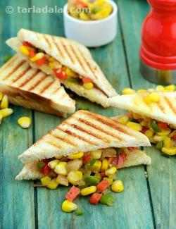 Grilled Corn and Capsicum Sandwich