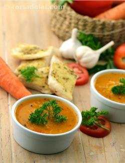 Herbed Tomato, Carrot and Macaroni Soup