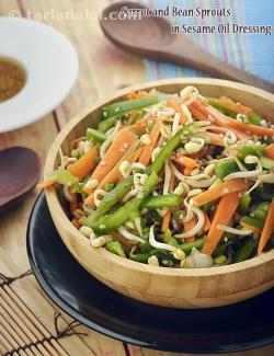 Carrot and Bean Sprouts in Sesame Oil Dressing