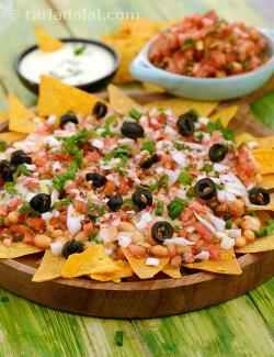 Nachos with Salsa and Baked Beans