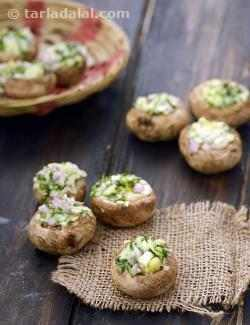 Onion, Cheese Stuffed Mushrooms