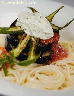 Spaghetti with Crispy Bhindi, Brinjal and Basil Pesto