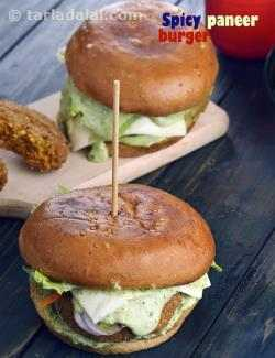 Spicy Paneer Burger  ( Burgers and Smoothies Recipe)