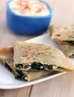 Spinach Stuffed Parathas