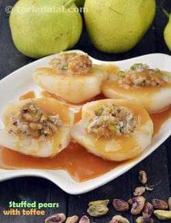 Stuffed Pears with Toffee Sauce